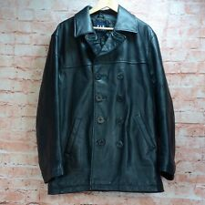 GAP Black Leather Military Navy Style Pea Coat Quilt Lined Overcoat Size Label M
