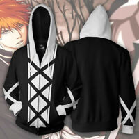 Anime BLEACH Cosplay Costume Men's Full Zip Hoodie Sweatshirt Hooded Coat Jacket