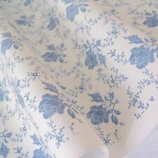 TOILE ROSE - CREAM AND BLUE FLORAL COTTON FABRIC per m FRENCH CHIC RETRO
