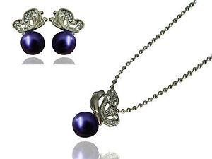 Lila Perlen Silber Schmetterlinge Schmuckset Ohrstecker Halskette S181P