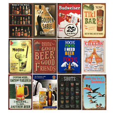 12 Pcs Retro Vintage Tin Metal Signs Bar Beer Liquor Man Cave Garage Sign Decor