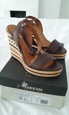 GEOX Peonia Women's Brown/Beige Leather Wedge Sandal Size EU41, BNIB