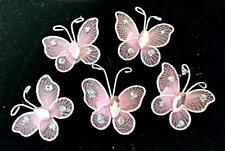 20 Rosa CABLATO GLITTERATE Mesh Farfalla motivi 4 CARD Artigianato cucire Ricamo