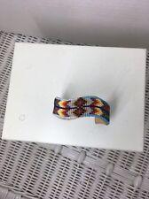 "~Beautiful ~1"" Wide Glass Beaded Wave Bracelet - Native American Handmade"