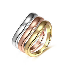 18K Rose Gold Platinum Plated Tri Color Fashion Ring For Women B169