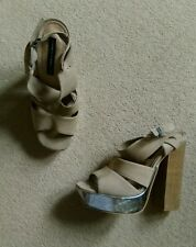 SEXY FRENCH CONNECTION BEIGE WOOD STRAPY SUEDE BLOCK HEEL SHOES SIZE 6.5 40 NEW