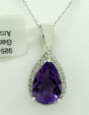 GENUINE 4.48 Ct AMETHYST & WHITE SAPPHIRE PENDANT NECKLACE .925 Sterling Silver