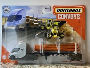 Matchbox New Convoy Tesla Semi & Pipe Trailer With Load Lifter