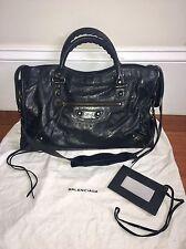 RARE 100% Auth Balenciaga Black RH City 2006 Chevre Leather Dustbag Purse Bag