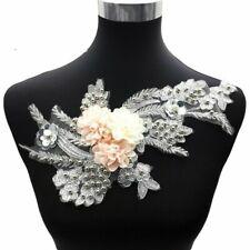 3D Bestickt Perlen Blume Spitze Applikation Pailette Hochzeits Kleid Basteln Neu