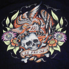 Marc Ecko Cut & Sew T-Shirt Large Skull Eagle Flowers Tattoo Flash