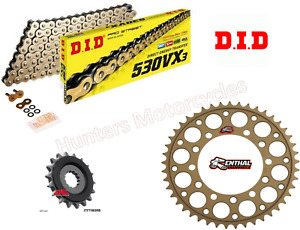 Triumph 1050 Speed Triple DID Gold XRing Chain and Renthal Sprocket Kit 12 to 19