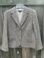 Brooks Brothers Blazer Stella Fit Tweed Brown Gold Buttons Wool 14 Large Coat