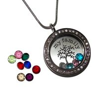 My Family Tree Birthstone Locket Necklace - Floating Glass Charm Jewelry USA