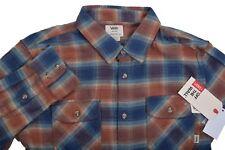 8d1a1e246bb Men VANS Long Sleeve Cotton Plaid Brown Flannel Shirt Tailored Fit Size M