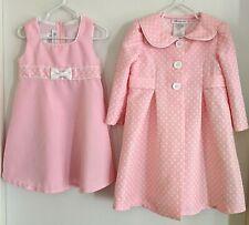 Bonnie Jean 2 piece Pink White Toddler Girl 3T Easter Dress & Polka Dot Coat EUC