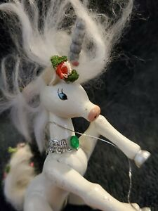 Vintage Kurt S Adler Wooden Unicorn Ornament 1981