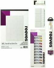 Reeves Oil Painting Starter Bundle  Oil Paper, 12 Oil Paints, 4 Brushes, Palette