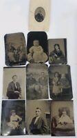 Antique Victorian Tin Type 9 Photos Lot Baby, Children Family