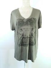 Mens Guess Grey Tshirt V Neck Top L Large Circus Print Short Sleeve 100% Cotton