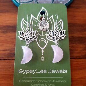 'Rose Moon' Earrings Quartz Lotus Flower Ohm Yoga Silver Hooks GypsyLee Jewels