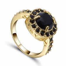 Fashion Women Jewelry Size 6 Black Sapphire Gold Rhodium Plated Engagement Ring