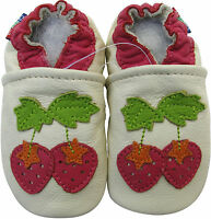 carozoo soft sole leather baby shoes strawberry cream 12-18m