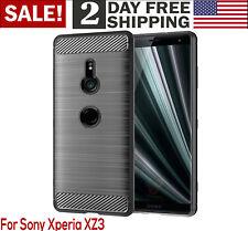 Sony Xperia XZ3 Case Frosted Shield Luxury Slim Bumper Cover Carbon Fiber Gray