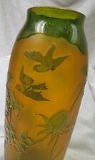 "1890-1900 signed HARRACH cameo art glass / acid cutback 10"" birds & flowers"