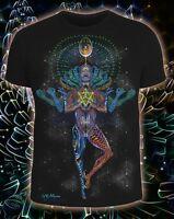 Mechanical Lotus Mens Tshirt Neon UV Blacklight Psy Goa Trance Psychedelic Art