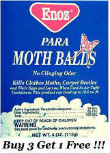 ENOZ PARA MOTH BALLS Kills Clothes Moths Carpet Beetles No Clinging Odor 4oz NEW