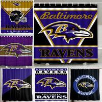 "Baltimore Ravens 72"" x72"" Waterproof Fabric Shower Curtain Bathroom Decor"
