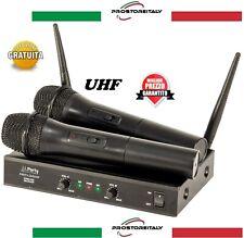 """COPPIA MICROFONI PROFESSIONALI SENZA FILI WIRELESS UHF PARTY """"200UHF"""""""