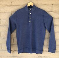 Marine Layer Men's Small Dark Denim Cotton Blend Pullover Boucle Sweatshirt EUC