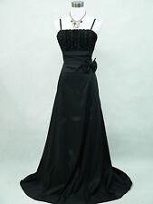 Cherlone Black Plus Size Rose Long Satin Ball Gown Party Evening Dress UK 14-16