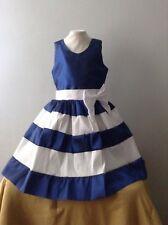 Blue White Girl Dress Size 4 Taffeta Holiday Birthday Pageant Handmade Headband