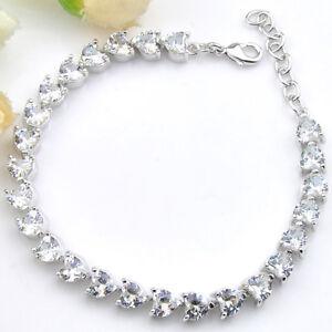 Love Heart White Topaz Gemstone Silver Charm Bracelet 8 Inch