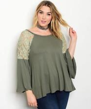 NEW..Lovely Plus Size Olive Green Boho Style Top with Bell Sleeves.Sz18/2XL