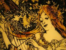 Vintage Etched Translucent Porcelain Lithopane.Alphonse Mucha,Beautiful
