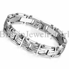 "8.9"" Stainless Steel Silver Cross Link Chain Bracelet Cuff Bangle for Men*13MM"