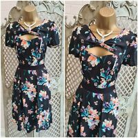 LOLA SKYE UK 10 BLACK FLORAL PRINT CUT OUT RETRO FIT & FLARE DRESS SUMMER