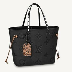 LOUIS VUITTON Neverfull MM Tote Bag Wild At Heart M45856 Animal Leopard Black