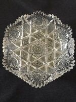Vintage ABP Cut Glass Wavey Scalloped Sawtooth Bowl Ornate Cutting Beautiful