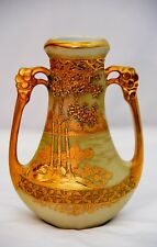 "HAND PAINTED NIPPON TROPHY-SHAPED VASE WITH ELONGATED ""EAR-SHAPED"" HANDLES GOLD"