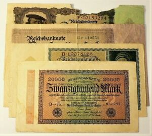 Germany 1922 1923 Hyperinflation Currency Lot of 4 #11134