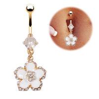 White Flower Navel Ring 18k Gold Plated Bar Dangel Clear Belly Piercing FR601