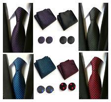Tie Pocket Square Cufflinks Set Black Blue Purple Red Polka Dot 100% Silk