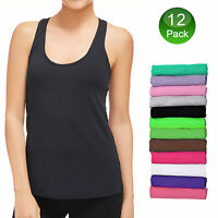 12x Women Tank Top T-Shirt Loose Fit Racerback Sleeveless Tops Fashion Gym Yoga