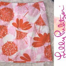 Lilly Pulitzer White Skirt with Orange & Pink Umbrella Print - Size 8 - $198.00