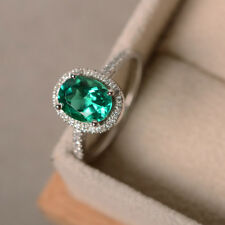 14K Solid White Gold 2.25 Ct Oval Cut Natural Diamond Real Emerald Ring Size N M